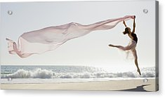 Dancer Leaping On Beach Acrylic Print