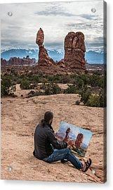 Daniel Paints Balanced Rock Acrylic Print