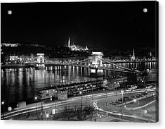 Acrylic Print featuring the photograph Danube River At Night by Mark Duehmig