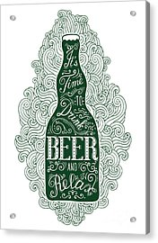 Dark Green Beer Bottle With Lettering Acrylic Print