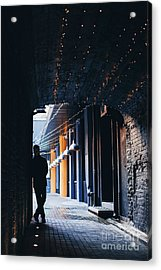 Dark Silhouette Of Man In Tunnel With Acrylic Print