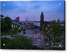 Dawn Over The Port And City Hamburg Panorama Acrylic Print
