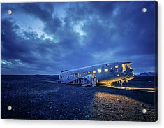 Acrylic Print featuring the photograph Dc-3 Plane Wreck Illuminated Night Iceland by Nathan Bush