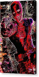 Acrylic Print featuring the mixed media Deadpool by Matra Art