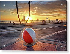 Decorative Beach Ball At Oceanside Pier Acrylic Print
