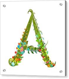 Decorative Botanical Elegant Alphabet Acrylic Print by Popmarleo