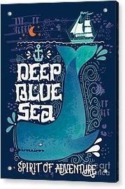 Deep Blue Sea. Hand Drawn Nautical Acrylic Print
