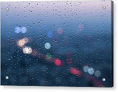 Defocused Lights And Water Droplets On Acrylic Print by Miragec