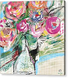 Acrylic Print featuring the mixed media Delightful Bouquet 3- Art By Linda Woods by Linda Woods