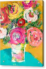 Acrylic Print featuring the mixed media Delightful Bouquet 4- Art By Linda Woods by Linda Woods