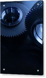 Detail Of Matching Gears In Blue Acrylic Print by Caracterdesign