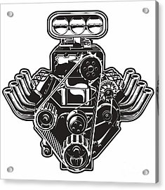 Detailed Cartoon Turbo Engine Acrylic Print