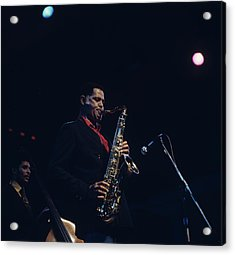 Dexter Gordon Performs On Stage Acrylic Print by David Redfern
