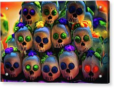Acrylic Print featuring the photograph Dia De Los Muertos Candy Skulls 2 by Tatiana Travelways