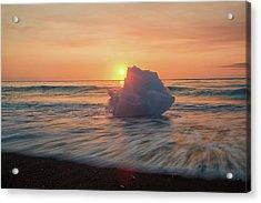 Acrylic Print featuring the photograph Diamond Beach Sunrise Iceland by Nathan Bush