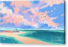 Digital Painting Of Deck Chair On The Acrylic Print