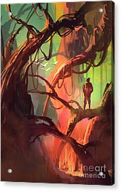 Digital Painting Of Fantasy Trees With Acrylic Print