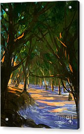 Digital Painting Of Forest On The Acrylic Print