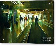 Digital Painting Of People Walking In Acrylic Print