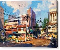 Digital Painting Of Street Scene With Acrylic Print