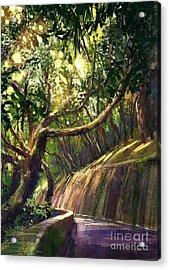 Digital Painting Of Walkway In Acrylic Print