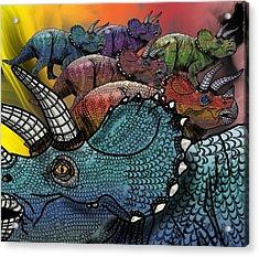 Dinosaur Triceratops Herd Acrylic Print