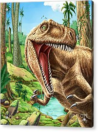 Dinosaurs Living In The Jungle Acrylic Print