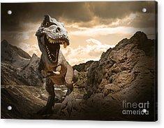 Dinosaurs Model On Rock Mountain Acrylic Print