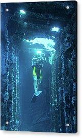 Diver In The Patris Shipwreck Acrylic Print
