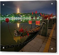 Docked Dragon Boat At Night I Acrylic Print