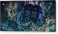 Acrylic Print featuring the mixed media Doctor Who Tardis 3 by Al Matra