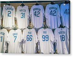 Acrylic Print featuring the photograph Dodgers Wall Of Famers - Blue Vintage by Lynn Bauer