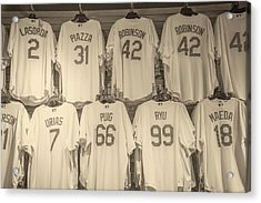 Acrylic Print featuring the photograph Dodgers Wall Of Famers - Retro Style by Lynn Bauer