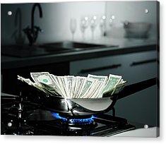 Dollar Bills In Frying Pan On Stove Acrylic Print by Walter Zerla