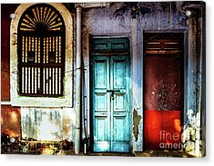 Doors Of India - Blue Door And Red Door Acrylic Print