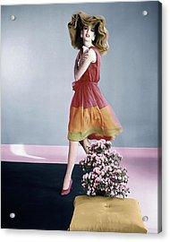 Dorothea Mcgowan Wearing Galanos Acrylic Print by Horst P. Horst