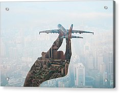 Double Exposure Of Hand Holding Model Acrylic Print by Jasper James