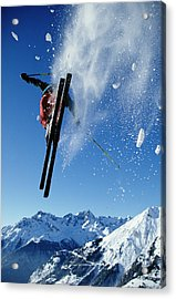 Downhill Skier In Mid-air, Rear View Acrylic Print