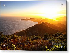 Dramatic Coastal Sunset With Island Acrylic Print