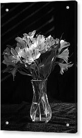Dramatic Flowers-bw Acrylic Print