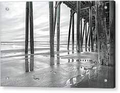 Dramatic Pier Sunrise In Black And White Acrylic Print