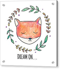 Dream On - Boho Chic Ethnic Nursery Art Poster Print Acrylic Print