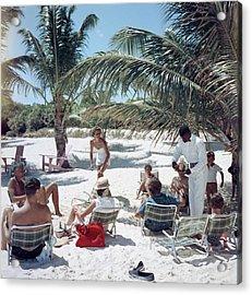 Drinks On The Beach Acrylic Print by Slim Aarons