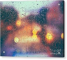 Drops Of Rain On Blue Glass Background Acrylic Print