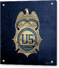 Drug Enforcement Administration -  D E A  Special Agent Badge Over Blue Velvet Acrylic Print