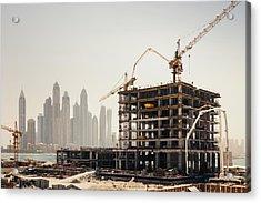 Dubai Construction Acrylic Print by Borchee