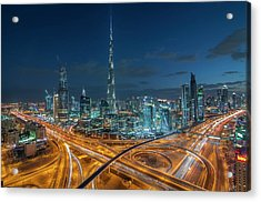 Dubai Downtown Area With Burj Khalifa Acrylic Print by Umar Shariff Photography