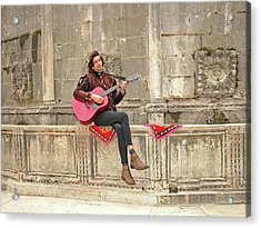 Dubrovnik Street Musician Acrylic Print