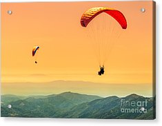 Duo Paragliding Flight Acrylic Print