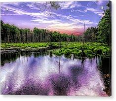 Dusk Falls Over New England Beaver Pond. Acrylic Print